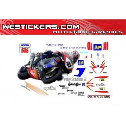 Stickers Kit Aprilia RSV SBK 2002 Playstation 2 team